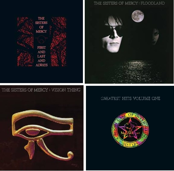 "SISTERS OF MERCY - 'First And Last And Always"", 'Floodland"", 'Vision Thing"",  'Greatest Hits Volume One: A Slight Case Of Overbombing"""